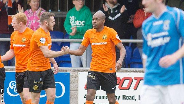 Miguel Chines scored in Carrick's 2-1 win over Dungannon Swifts on the opening day of the season