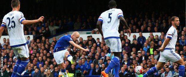Steven Naismith scores for Everton against Chelsea