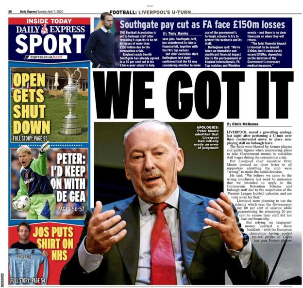 The back page of Tuesday's Express