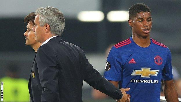 Marcus Rashford (right) had a tough night but was not helped by a lack of service