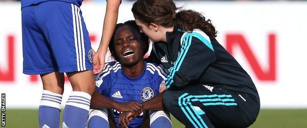 Eniola Aluko is consoled after Chelsea's 2-1 defeat at Manchester City in 2014