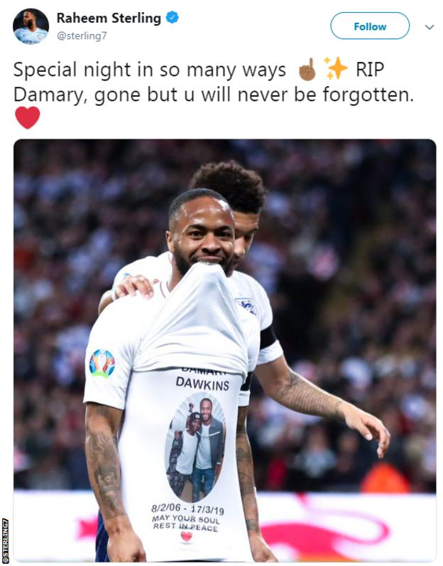 Raheem Sterling social media post paying tribute to Damary Dawkins, the 13-year-old Crystal Palace youth team player who died on Sunday