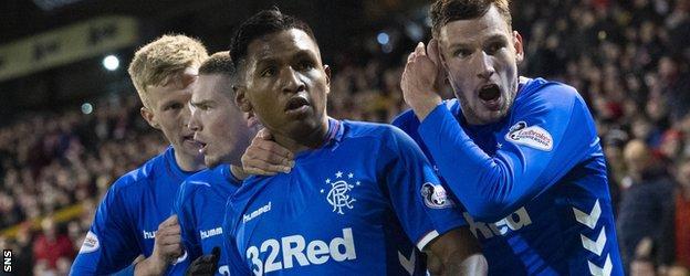 Alfredo Morelos took his tally to 15 goals in 23 Premiership matches