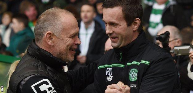 Caley Thistle's John Hughes and Celtic's Ronny Deila embrace