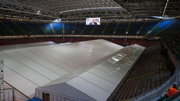 The Principality Stadium has been turned into a field hospital