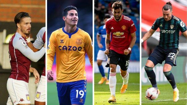 Jack Grealish (Aston Villa), James Rodriguez (Everton), Bruno Fernandes (Man Utd), Jack Harrison (Leeds)