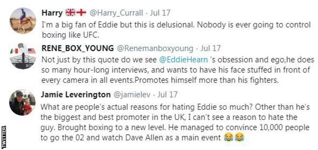 Boxing fans react to Eddie Hearn saying he wants to control boxing. One fan calls him delusional, another questions why Hearn gets so much hate from fans