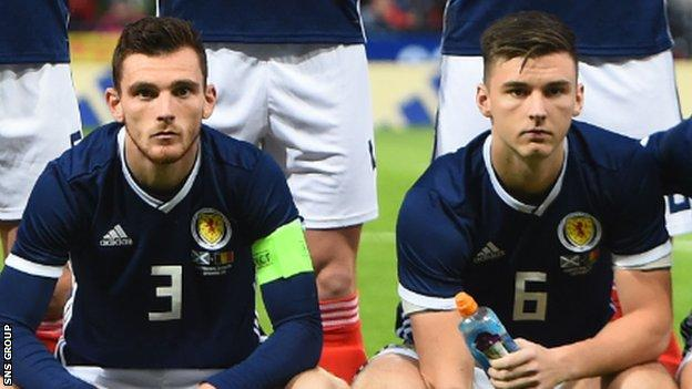 Scotland are without left-backs Andrew Robertson and Kieran Tierney for the match in Astana