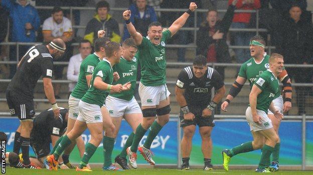 Ireland celebrate the win over New Zealand