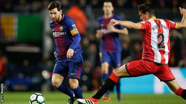 Lionel Messi playing against Girona