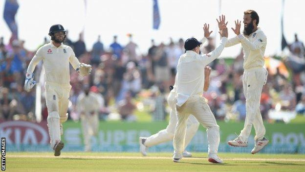 Moeen Ali celebrates wicket