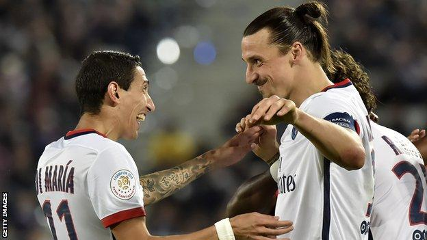 Angel di Maria and Zlatan Ibrahimovic