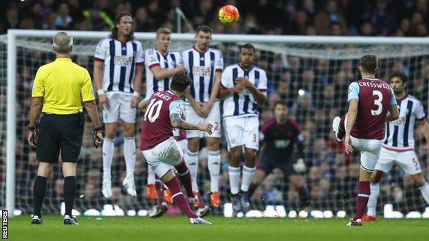 Mauro Zarate's goal was the eighth direct free-kick scored in the Premier League this season