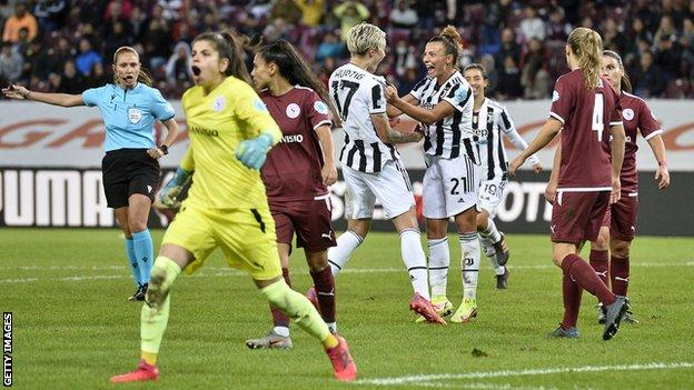 Juventus' Lina Hurtig celebrates scoring for Juventus against Servette