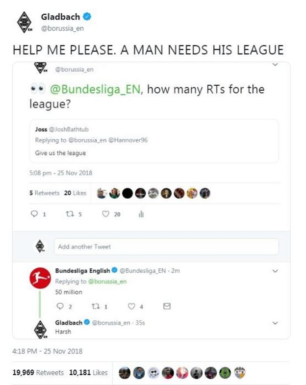 Borussia Monchengladbach tried to win the league with retweets but the league responded by saying they needed 50 million