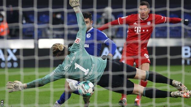 Robert Lewandowski scores for Bayern Munich