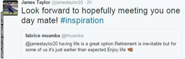 James Taylor responds to encouragement from Fabrice Muamba