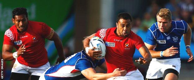 Telusa Veainu makes a break forward during Tonga's World Cup win over Namibia