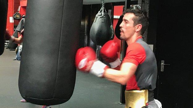 After 12 rounds of sparring Crolla did a shake-out round on the bag before skipping and stretching