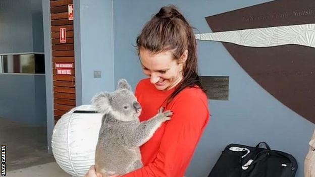"""Carlin shared this image of herself, stating it was the """"best welcome"""" to Australia"""