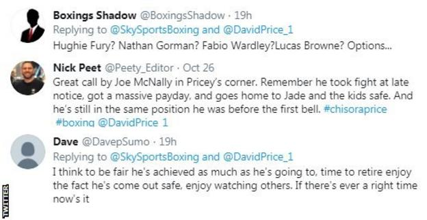 Twitter reaction to David Price loss against Dereck Chisora
