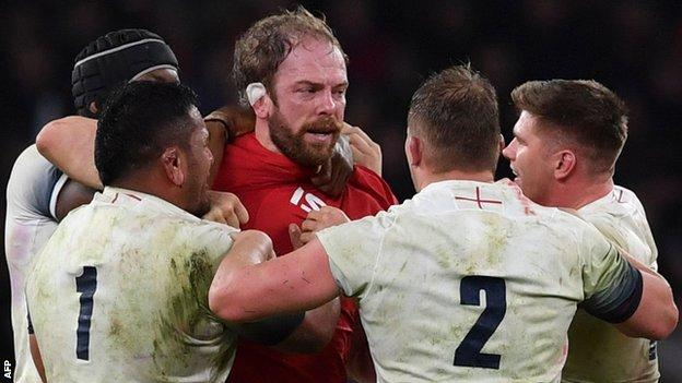 Wales captain Alun Wyn Jones faces of with several England players