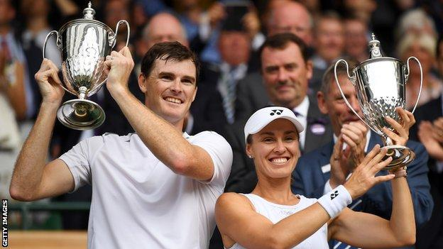 Jamie Murray and Martina Hingis celebrate their Wimbledon title