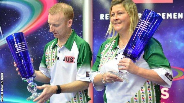 Nick Brett and Claire Johnston win the mixed pairs final