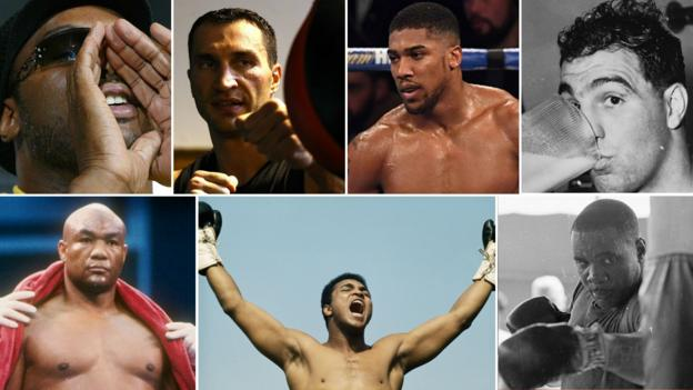 Montage of boxing greats