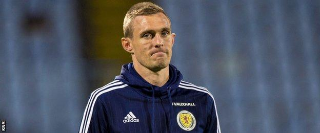 Scotland captain Darren Fletcher had to sit out training with a thigh injury