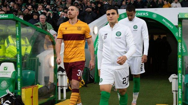 Motherwell and Celtic at Celtic Park