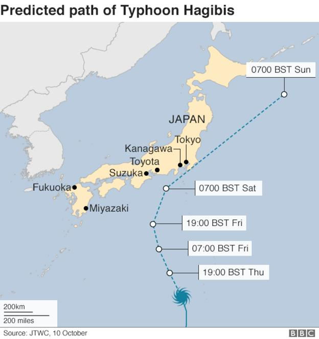 Predicted path of Typhoon Hagibis