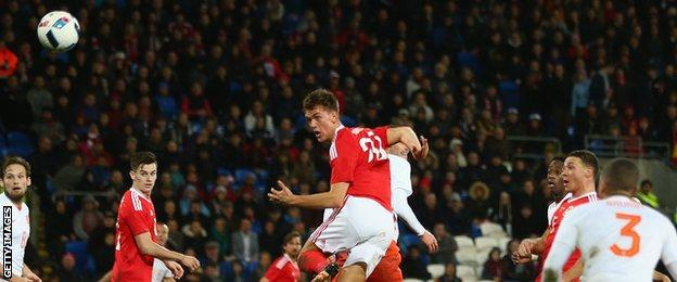Emyr Huws scored his first goal for Wales