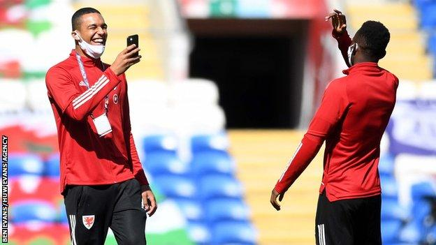 Ben Cabango and Rabbi Matondo pictured before Wales' friendly against Mexico