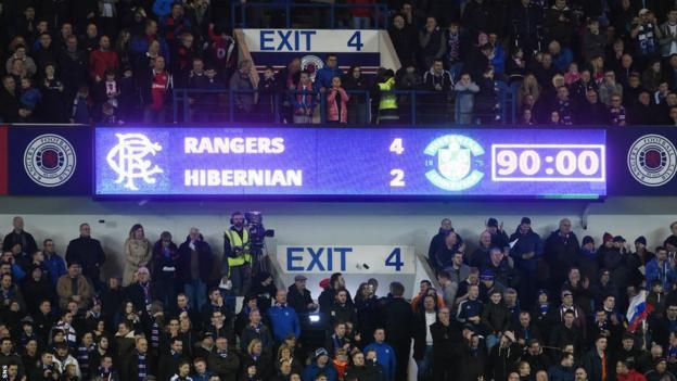 Ibrox scoreboard, Rangers v Hibernian