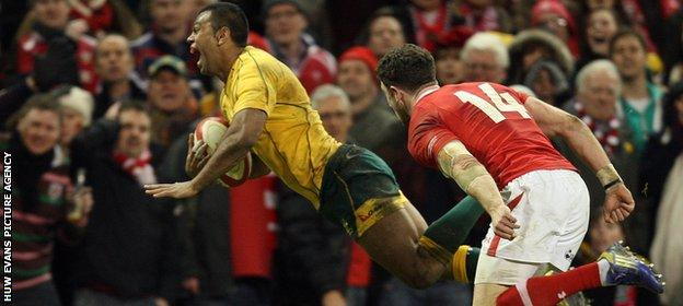 Kurtley Beale scores a last-minute try against Wales in 2012 to give Australia victory in Cardiff