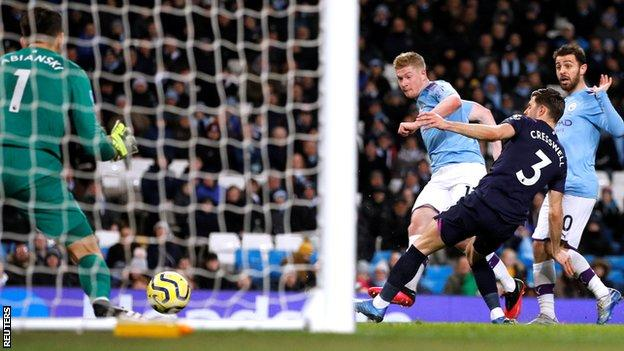 Kevin De Bruyne score Man City's second goal