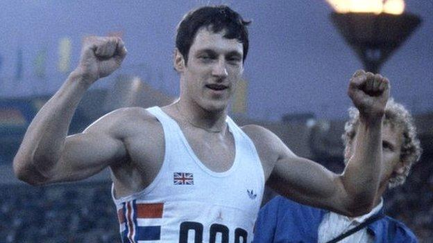 Allan Wells celebrates victory in the 100m final at the Moscow Olympics