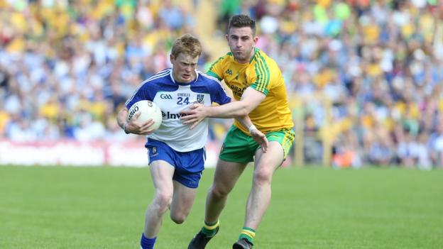 Ryan McAnespie holds off the challenge of Patrick McBrearty