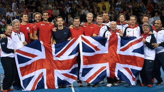 Britain celebrate winning Davis Cup tie