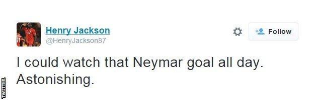 Twitter reaction to Neymar goal