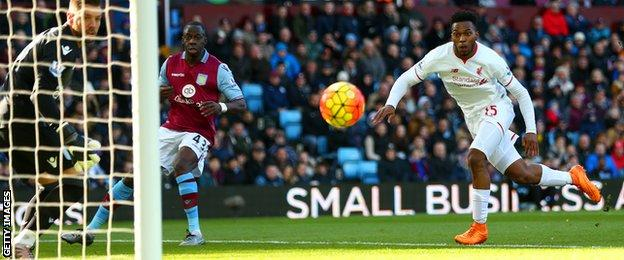 Daniel Sturridge (right) scores for Liverpool at Aston Villa