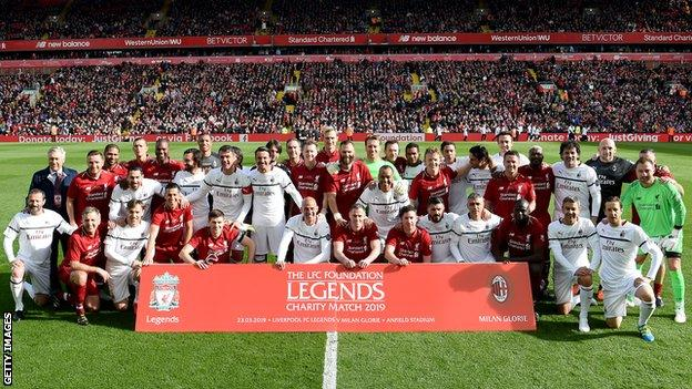Liverpool and AC Milan legends pictured before Saturday's match at Anfield