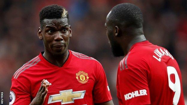 Manchester United midfielder Paul Pogba (left) and striker Romelu Lukaku