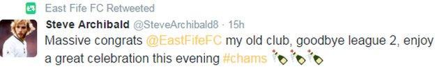 Former Barcelona and Spurs star Steve Archibald congratulates East Fife on their promotion