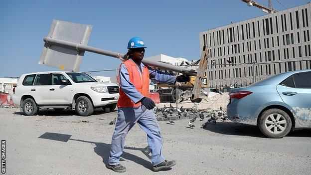 A migrant worker walks through a construction site in Doha, Qatar, where human rights have been under scrutiny