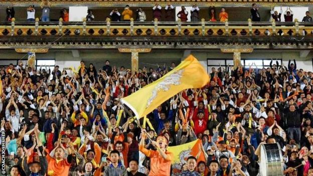 Bhutan fans during their team's 1-0 win over Guam in a World Cup qualifier in Thimphu on Thursday