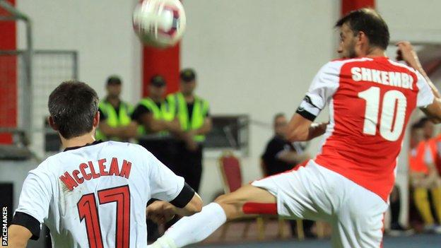 Action from the match between Skenderbeu and Crusaders