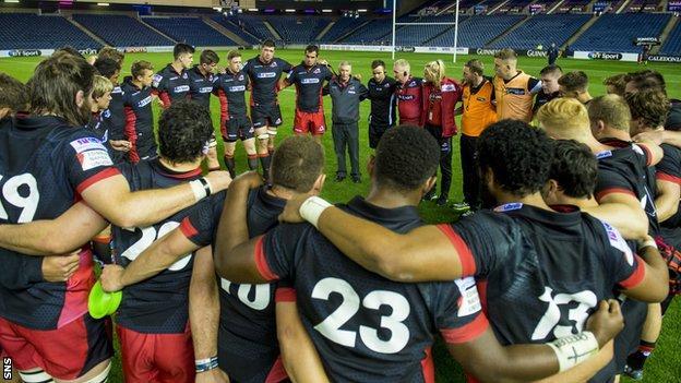 Edinburgh players and coaches