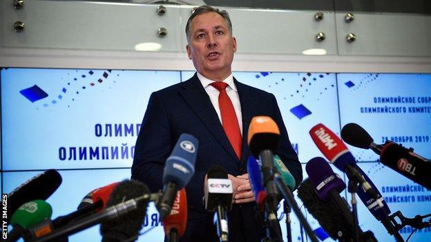 Russian Olympic Committee president Stanislav Pozdnyakov speaks to reporters in Moscow